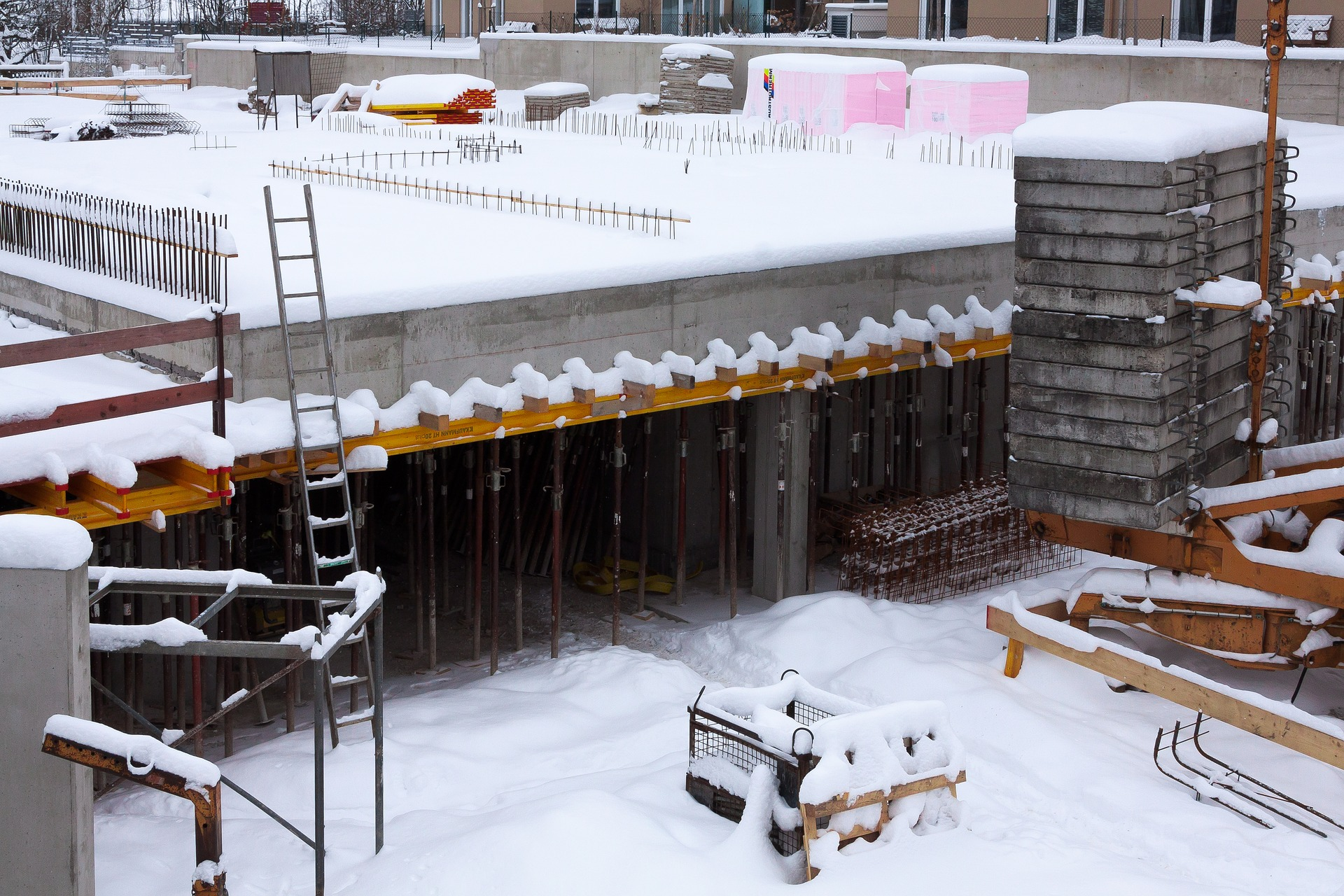 Snowy construction site