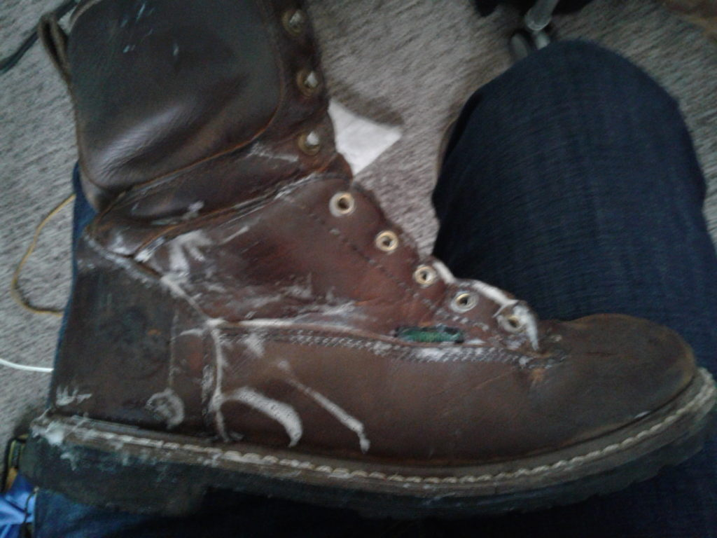 Boot with lather applied